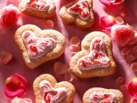 Heart-shaped Cookies with Marzipan and Raspberry Cream