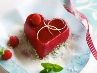 Heart-Shaped Raspberry Jelly with Lime and Coconut recipe