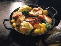 Hearty Cabbage and Potato Stew with Cheese Crostini recipe
