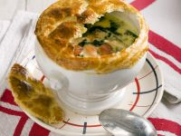 Hearty Soup with Chicken, Salmon, Spinach and Puff Pastry Crust recipe