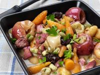 Hearty Vegetable Stew with Ham and Apples recipe