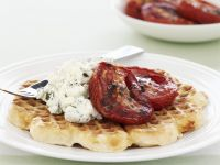Hearty Waffles with Herbed Cream Cheese and Baked Tomatoes recipe