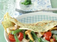 Herb Crepes with Chanterelle Vegetable Filling