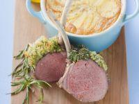 Herb Crusted Lamb Chops, Potato Gratin recipe