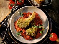 Herb Lamb Chops with Tomato Sauce and Stuffed Potatoes