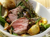 Herb-marinated Leg of Lamb with Green Beans recipe