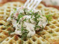 Herb Waffles with Shrimp Salad recipe