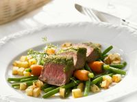 Herbed Lamb with Baby Carrots, Green Beans, and Potatoes recipe