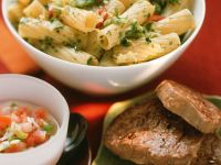 Herbed Rigatoni with Beef Steaks recipe
