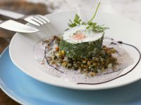 Herbed Salmon Turbot Roll with Mixed Lentils
