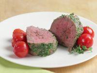 Herbed Veal Tenderloin with Steamed Tomatoes recipe