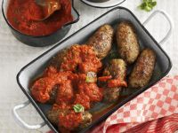 Italian Ground Meat Rolls with Tomato Sauce recipe
