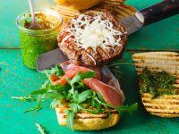Italian Style Burgers with Arugula, Parma Ham and Pesto