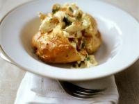 Jacket Potatoes with White Fish recipe