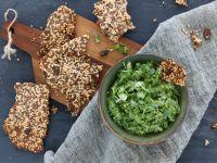 Kale Avocado Chili Dip with Keto Crackers recipe