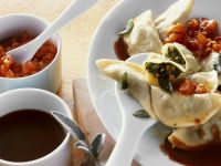 Kale Stuffed Ravioli with Tomato Sauce recipe