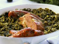 Kale with Smoked Pork Loin and Sausage