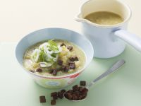 Kohlrabi Soup with Lentils and Pumpernickel Croutons recipe