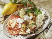 Lamb and Summer Squash Skewers with Yoghurt and Rice recipe
