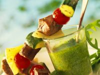 Lamb and Vegetable Skewers with Arugula Pesto recipe