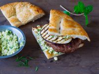 Lamb Burgers with Grilled Eggplant and Feta