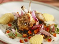 Lamb Chop with Potato Gnocchi and Lentils recipe