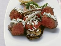 Lamb Chops with Aubergine and Soft Cheese recipe