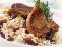 Lamb Chops with Bean Rice recipe