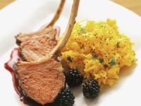 Lamb Chops with Blackberry Sauce and Saffron Rice recipe