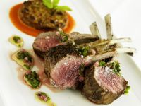 Lamb Chops with Mint Sauce and Potato-eggplant Fritters recipe