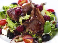 Lamb Chops with Raspberries and Greek Salad recipe