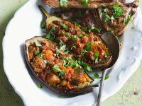 Lamb Chops with Stuffed Eggplants recipe