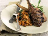 Lamb Chops with Sweet Potato Cubes recipe