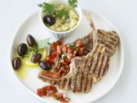 Lamb Chops with Tomato Salsa and Olives recipe