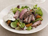 Lamb Fillet with Mint Yogurt Sauce and Salad recipe