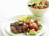 Lamb Fillet with Tomato and Avocado Salad recipe