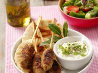 Lamb Kebab Skewers with Garnish recipe