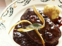 Lamb Ossobuco with Eldeberry Sauce and Dumplings recipe