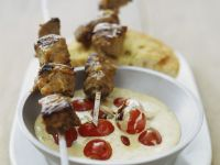 Lamb Skewers with Garlic Sauce recipe