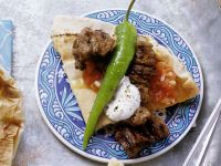 Lamb Skewers with Tomato Sauce and Yogurt Sauce recipe