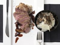 Lamb Steaks on Barley Risotto recipe