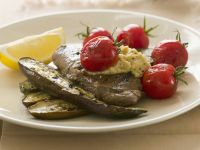 Lamb Steaks with Aubergine and Tomatoes recipe