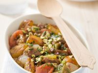 Lamb Tajine with Tomatoes, Apricots, Onions and Pistachios recipe