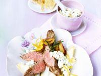 Lamb with Asparagus and Yogurt Sauce recipe