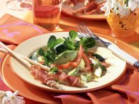 Lamb's Lettuce Salad with Avocado, Tomatoes and Prosciutto-wrapped Grissini recipe