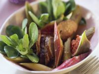 Lamb's Lettuce Salad with Duck Liver, Rhubarb and Figs recipe