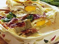 Lasagna with Hard-Boiled Eggs recipe