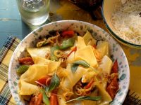 Lasgana Noodles with Bacon and Bell Peppers recipe