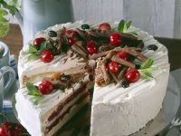 Layered Sponge Cake with Chocolate and Cherries recipe