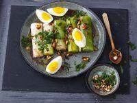 Leek Salad with Eggs and Hazelnuts recipe